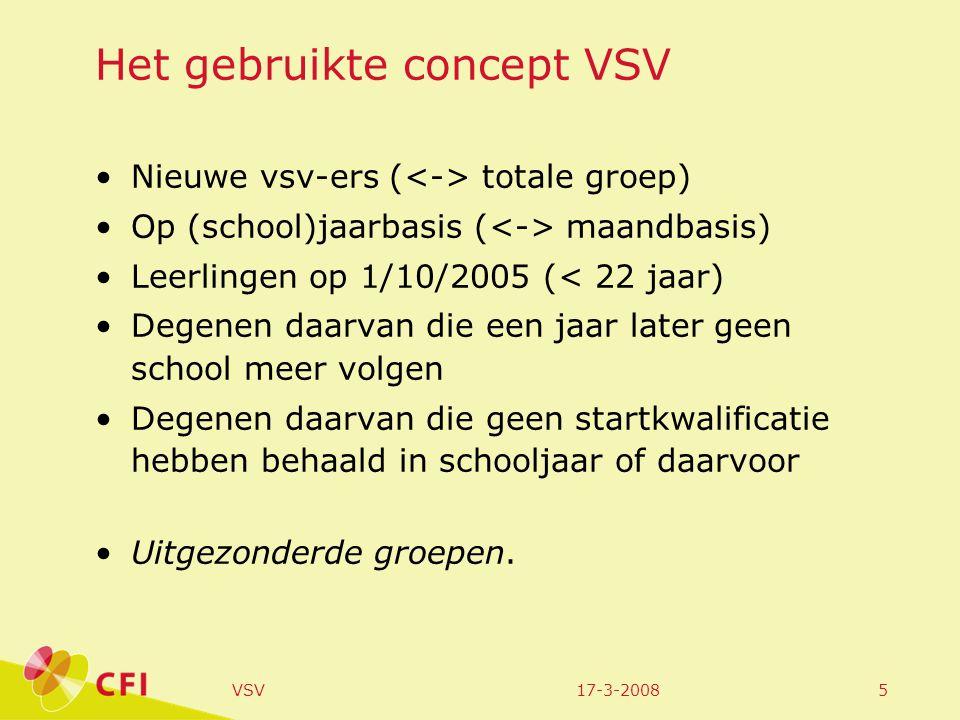 17-3-2008VSV5 Het gebruikte concept VSV Nieuwe vsv-ers ( totale groep) Op (school)jaarbasis ( maandbasis) Leerlingen op 1/10/2005 (< 22 jaar) Degenen