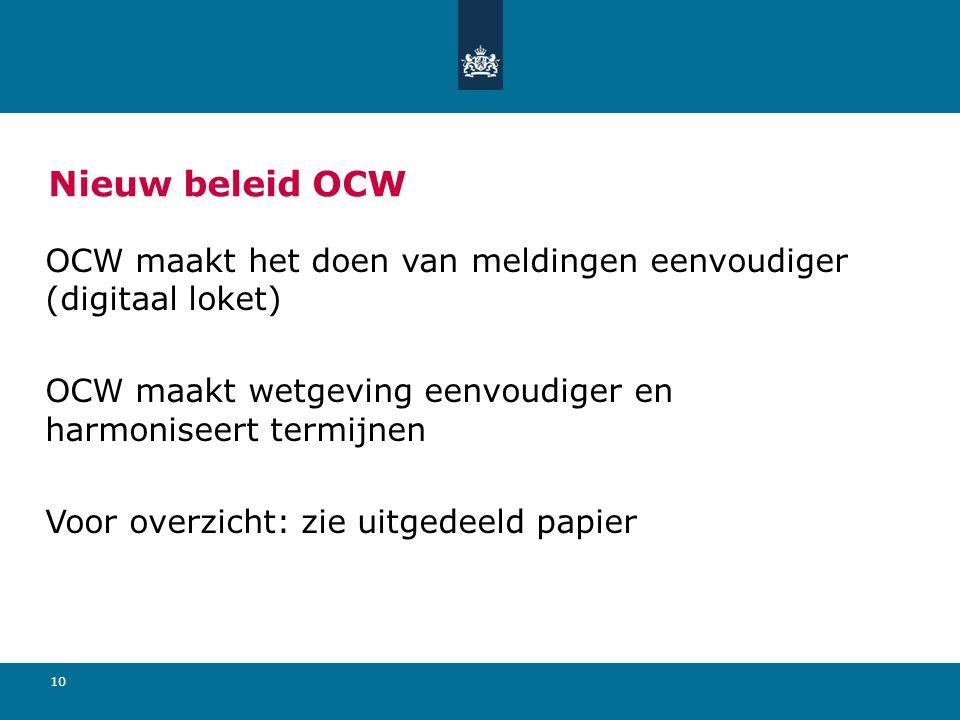 10 Nieuw beleid OCW OCW maakt het doen van meldingen eenvoudiger (digitaal loket) OCW maakt wetgeving eenvoudiger en harmoniseert termijnen Voor overz
