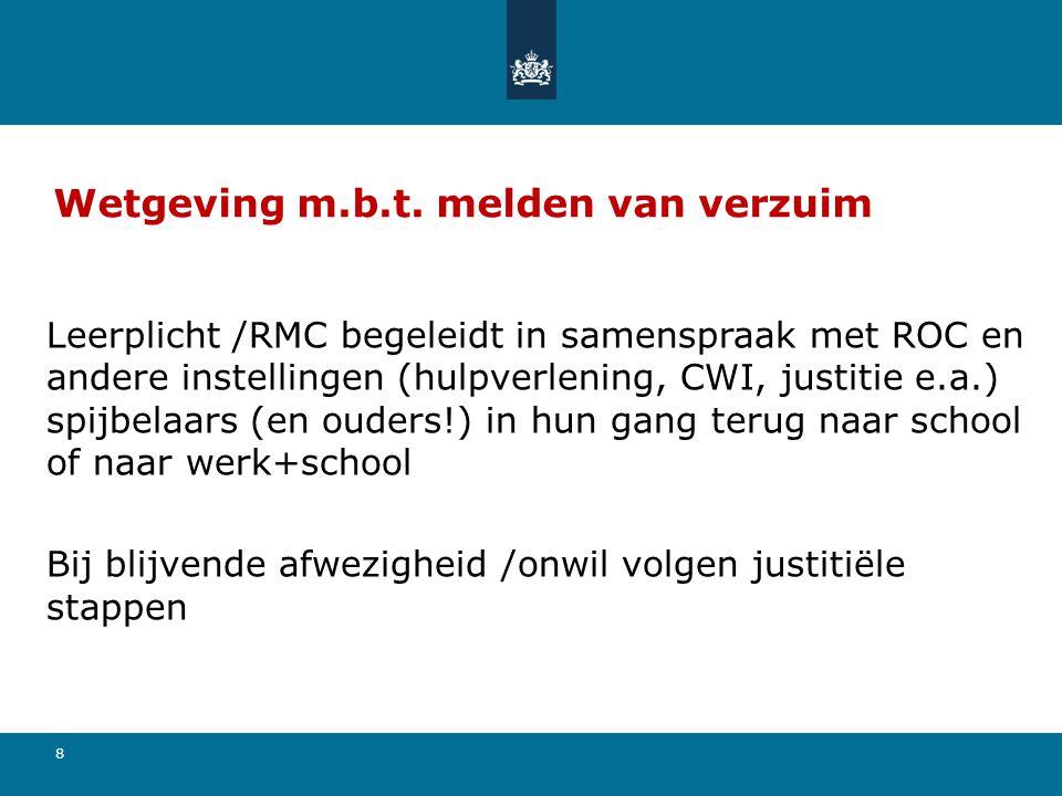 8 Wetgeving m.b.t. melden van verzuim Leerplicht /RMC begeleidt in samenspraak met ROC en andere instellingen (hulpverlening, CWI, justitie e.a.) spij
