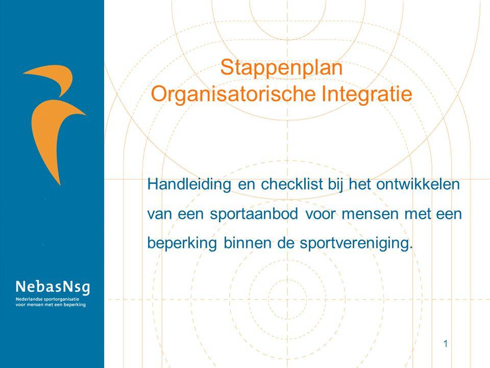 1 Stappenplan Organisatorische Integratie Handleiding en checklist bij het ontwikkelen van een sportaanbod voor mensen met een beperking binnen de sportvereniging.
