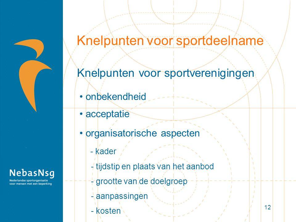 12 Knelpunten voor sportdeelname Knelpunten voor sportverenigingen organisatorische aspecten - kader - tijdstip en plaats van het aanbod - grootte van de doelgroep - aanpassingen - kosten onbekendheid acceptatie