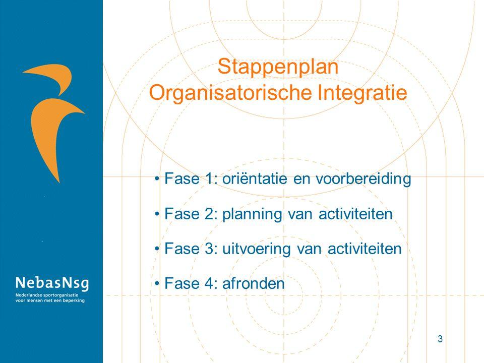 3 Stappenplan Organisatorische Integratie Fase 1: oriëntatie en voorbereiding Fase 2: planning van activiteiten Fase 3: uitvoering van activiteiten Fa