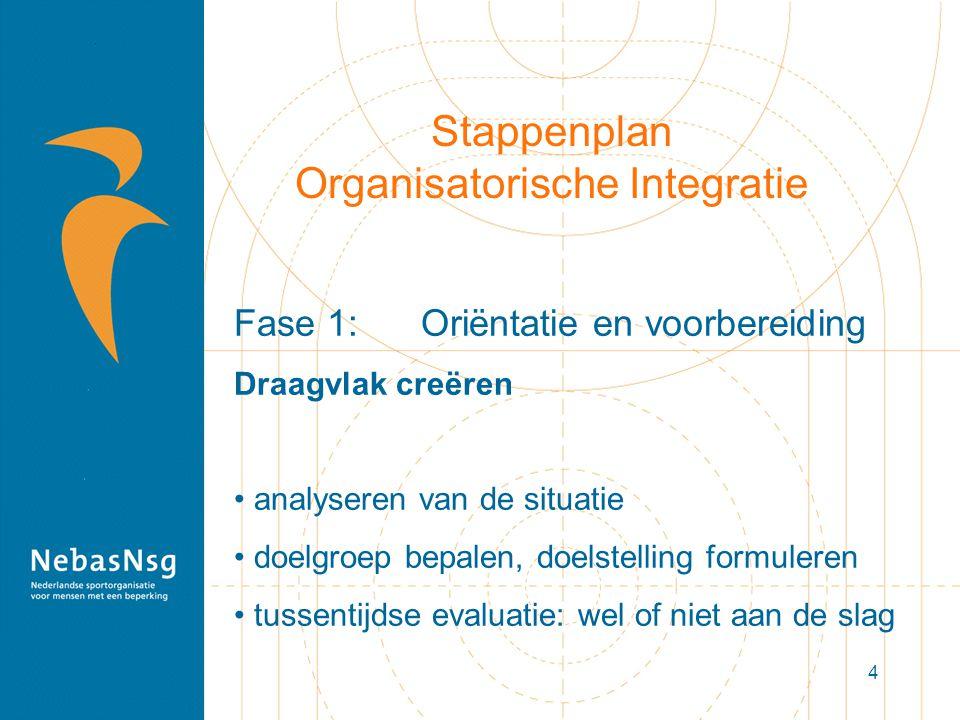 4 Stappenplan Organisatorische Integratie Fase 1: Oriëntatie en voorbereiding Draagvlak creëren analyseren van de situatie doelgroep bepalen, doelstel