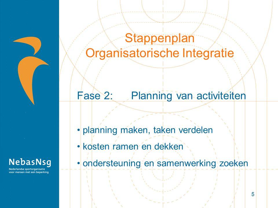 5 Stappenplan Organisatorische Integratie Fase 2: Planning van activiteiten planning maken, taken verdelen kosten ramen en dekken ondersteuning en sam