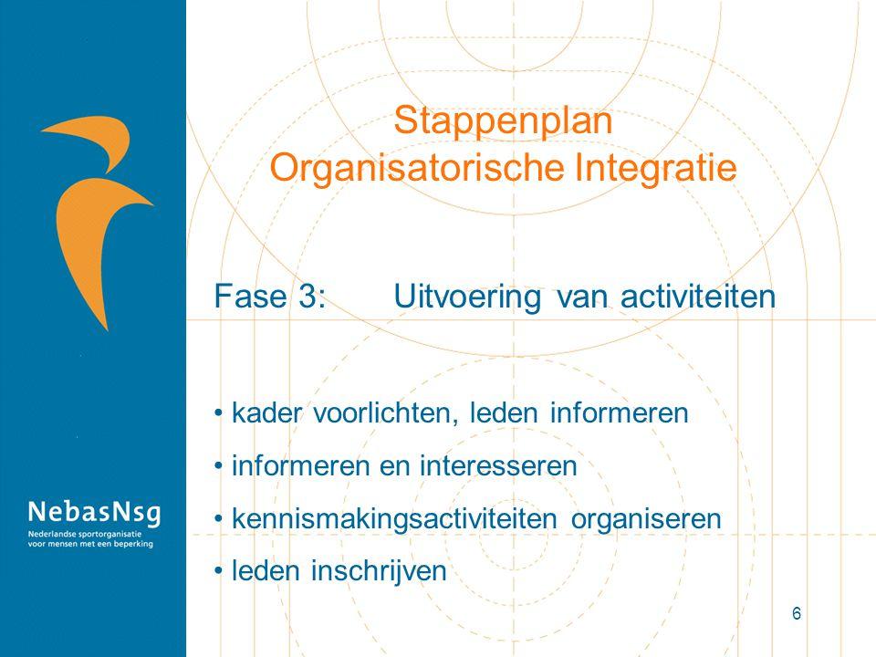 6 Stappenplan Organisatorische Integratie Fase 3: Uitvoering van activiteiten kader voorlichten, leden informeren informeren en interesseren kennismakingsactiviteiten organiseren leden inschrijven