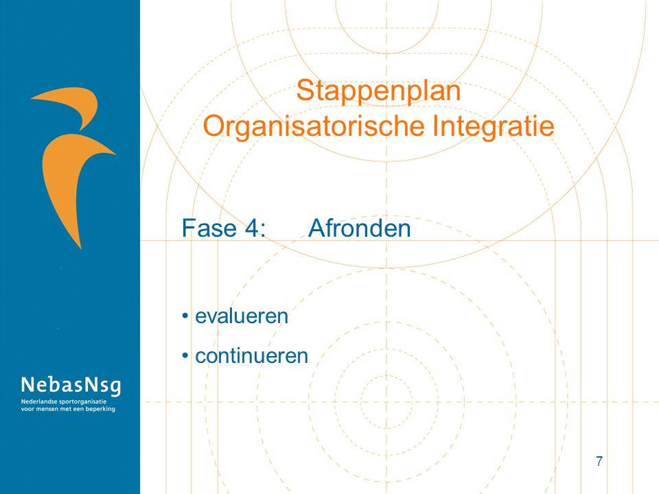 7 Stappenplan Organisatorische Integratie Fase 4: Afronden evalueren continueren