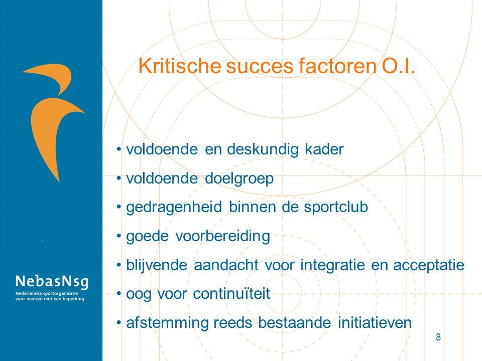 8 Kritische succes factoren O.I. voldoende en deskundig kader voldoende doelgroep gedragenheid binnen de sportclub goede voorbereiding blijvende aanda