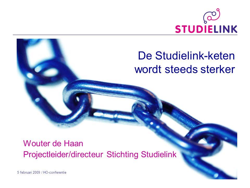De Studielink-keten wordt steeds sterker Wouter de Haan Projectleider/directeur Stichting Studielink 5 februari 2009 / HO-conferentie