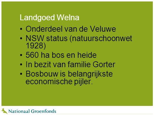 Landgoed Welna Onderdeel van de Veluwe NSW status (natuurschoonwet 1928) 560 ha bos en heide In bezit van familie Gorter Bosbouw is belangrijkste econ