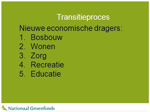 Transitieproces Nieuwe economische dragers: 1.Bosbouw 2.Wonen 3.Zorg 4.Recreatie 5.Educatie