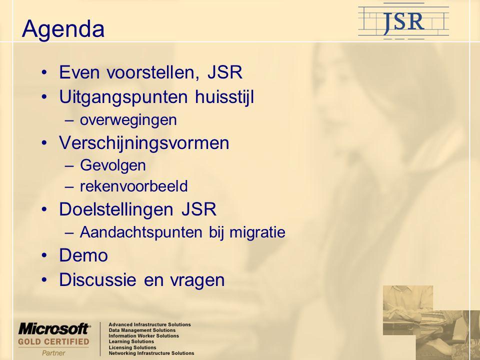 Even voorstellen, JSR Uitgangspunten huisstijl –overwegingen Verschijningsvormen –Gevolgen –rekenvoorbeeld Doelstellingen JSR –Aandachtspunten bij mig