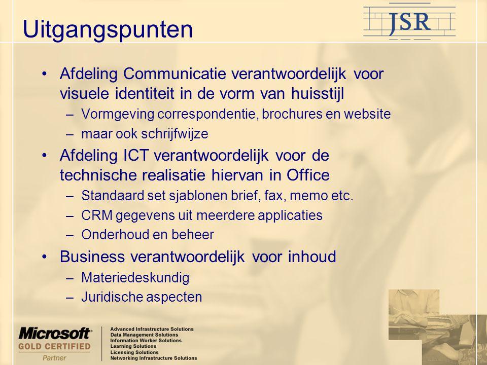 Overwegingen Huisstijl –Meerdere vestigingen of bedrijven –Meerdere talen –Meerdere gebruikers, bedrijfsonderdelen –Content.