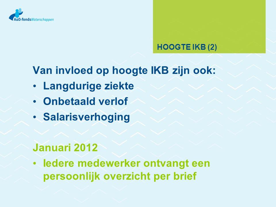 HOOGTE IKB (2) Van invloed op hoogte IKB zijn ook: Langdurige ziekte Onbetaald verlof Salarisverhoging Januari 2012 Iedere medewerker ontvangt een persoonlijk overzicht per brief