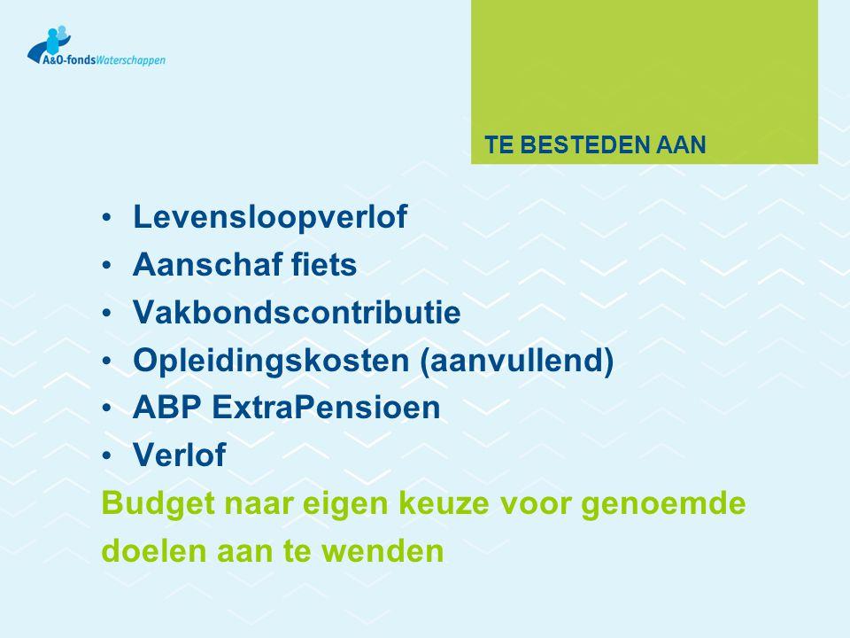 TE BESTEDEN AAN Levensloopverlof Aanschaf fiets Vakbondscontributie Opleidingskosten (aanvullend) ABP ExtraPensioen Verlof Budget naar eigen keuze voor genoemde doelen aan te wenden