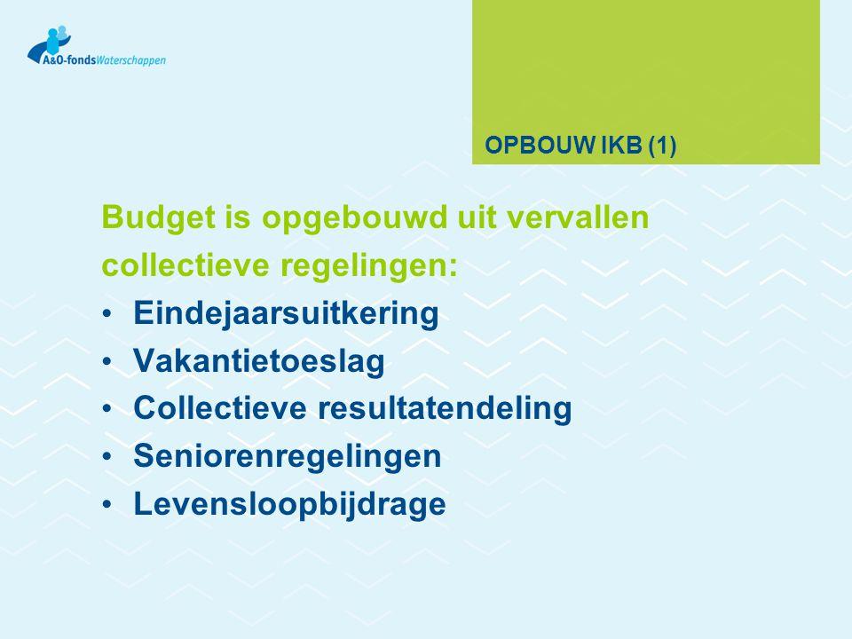OPBOUW IKB (1) Budget is opgebouwd uit vervallen collectieve regelingen: Eindejaarsuitkering Vakantietoeslag Collectieve resultatendeling Seniorenregelingen Levensloopbijdrage