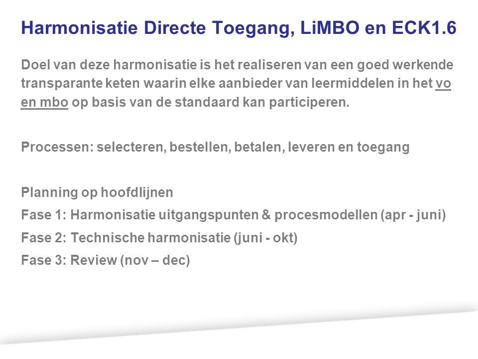 Harmonisatie Directe Toegang, LiMBO en ECK1.6 Doel van deze harmonisatie is het realiseren van een goed werkende transparante keten waarin elke aanbie