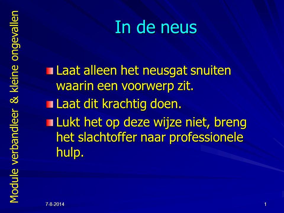 Module verbandleer & kleine ongevallen 7-8-20142 In het oor Als er een voorwerp in het oor is gekomen, doen we er niets aan.
