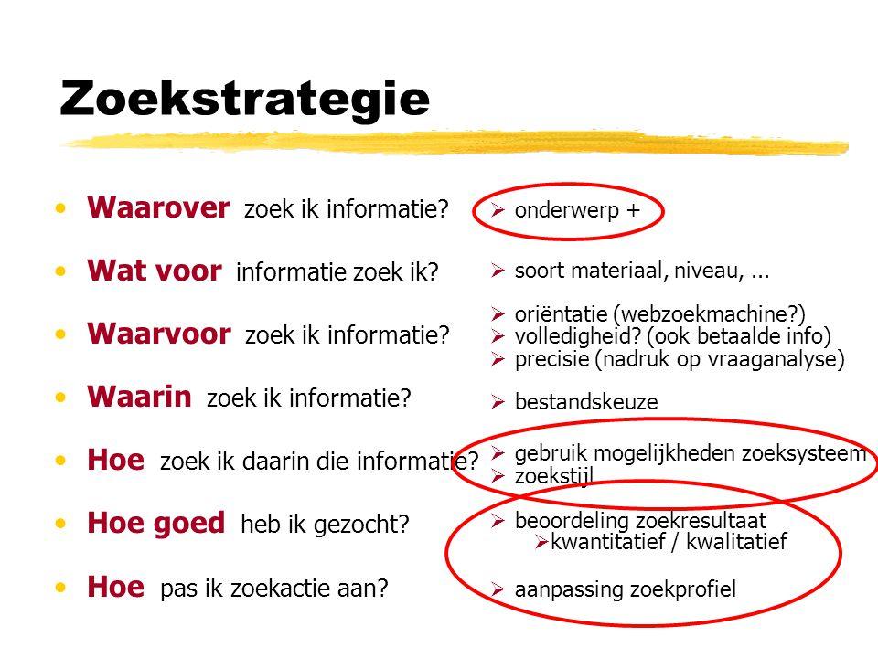 Zoekstrategie Waarover zoek ik informatie? Wat voor informatie zoek ik? Waarvoor zoek ik informatie? Waarin zoek ik informatie? Hoe zoek ik daarin die