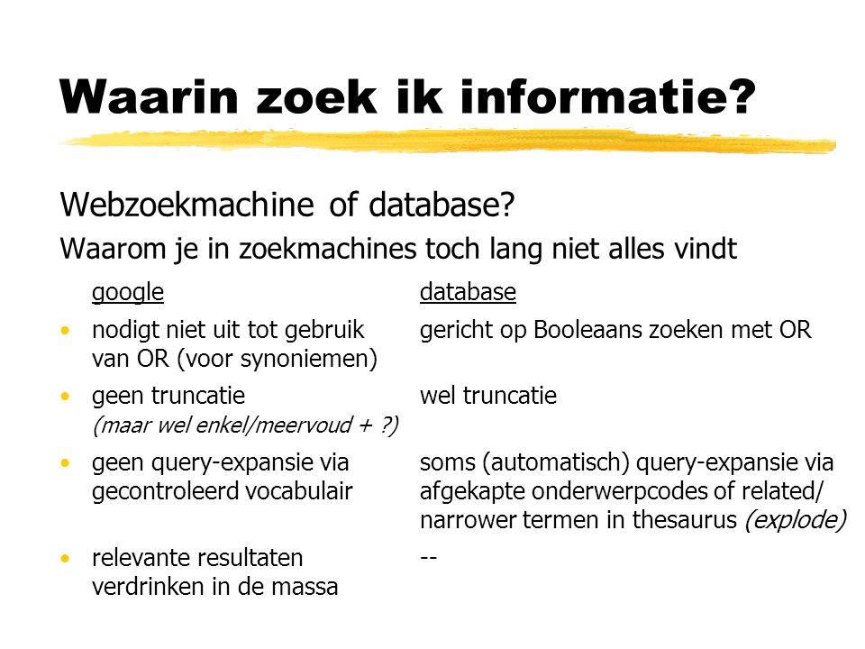 Waarin zoek ik informatie? Webzoekmachine of database? Waarom je in zoekmachines toch lang niet alles vindt googledatabase nodigt niet uit tot gebruik