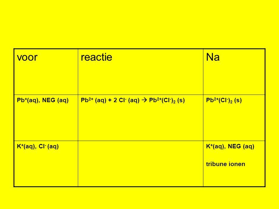 voorreactieNa Pb + (aq), NEG (aq)Pb 2+ (aq) + 2 Cl - (aq)  Pb 2+ (Cl - ) 2 (s)Pb 2+ (Cl - ) 2 (s) K + (aq), Cl - (aq)K + (aq), NEG (aq) tribune ionen
