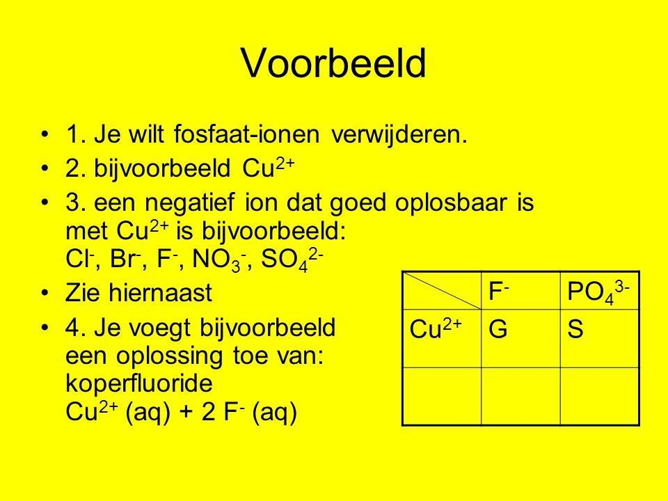 Voorbeeld 1. Je wilt fosfaat-ionen verwijderen. 2. bijvoorbeeld Cu 2+ 3. een negatief ion dat goed oplosbaar is met Cu 2+ is bijvoorbeeld: Cl -, Br -,