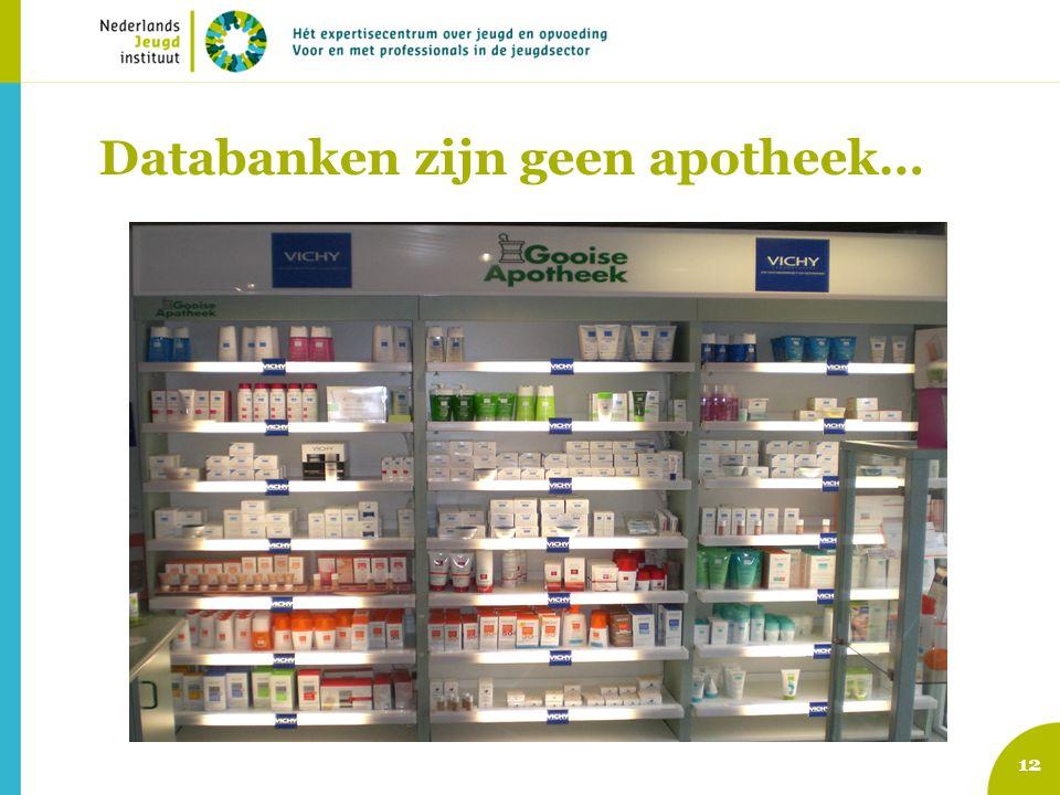 12 Databanken zijn geen apotheek…