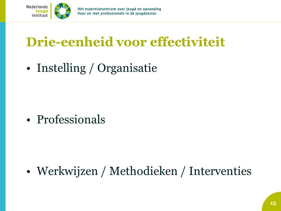 Drie-eenheid voor effectiviteit Instelling / Organisatie Professionals Werkwijzen / Methodieken / Interventies 15