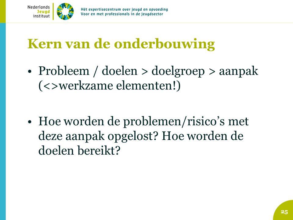 Kern van de onderbouwing Probleem / doelen > doelgroep > aanpak (<>werkzame elementen!) Hoe worden de problemen/risico's met deze aanpak opgelost.