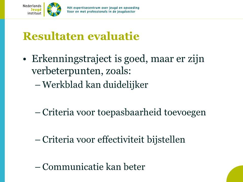 Resultaten evaluatie Erkenningstraject is goed, maar er zijn verbeterpunten, zoals: –Werkblad kan duidelijker –Criteria voor toepasbaarheid toevoegen –Criteria voor effectiviteit bijstellen –Communicatie kan beter