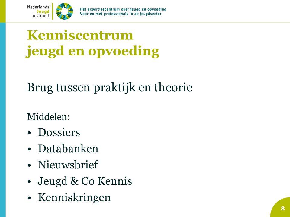 8 Kenniscentrum jeugd en opvoeding Brug tussen praktijk en theorie Middelen: Dossiers Databanken Nieuwsbrief Jeugd & Co Kennis Kenniskringen