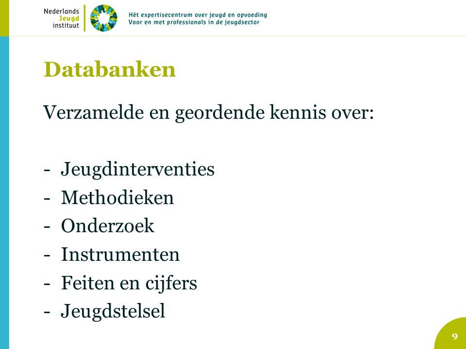 10 Databank Effectieve Jeugdinterventies Jeugdinterventies Op dit moment: 150 erkende interventies, verdeeld over 16 problemen/ risico's waar zij zich op richten Waar: www.nji.nlwww.nji.nl > Kennis > Databanken > Effectieve jeugdinterventies