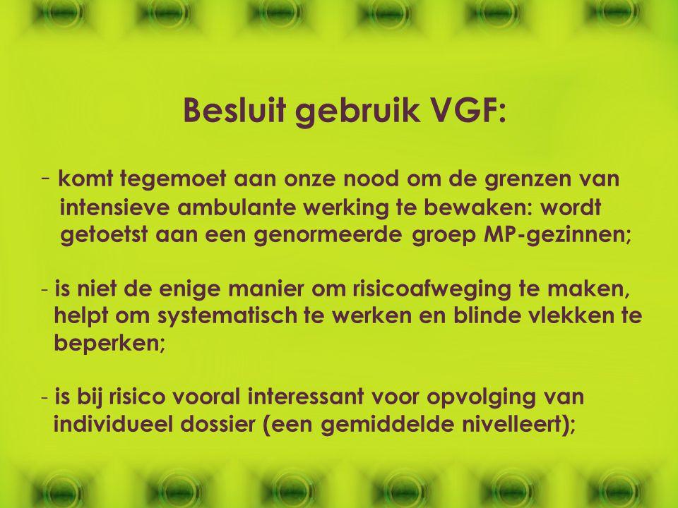 Besluit gebruik VGF: - komt tegemoet aan onze nood om de grenzen van intensieve ambulante werking te bewaken: wordt getoetst aan een genormeerde groep