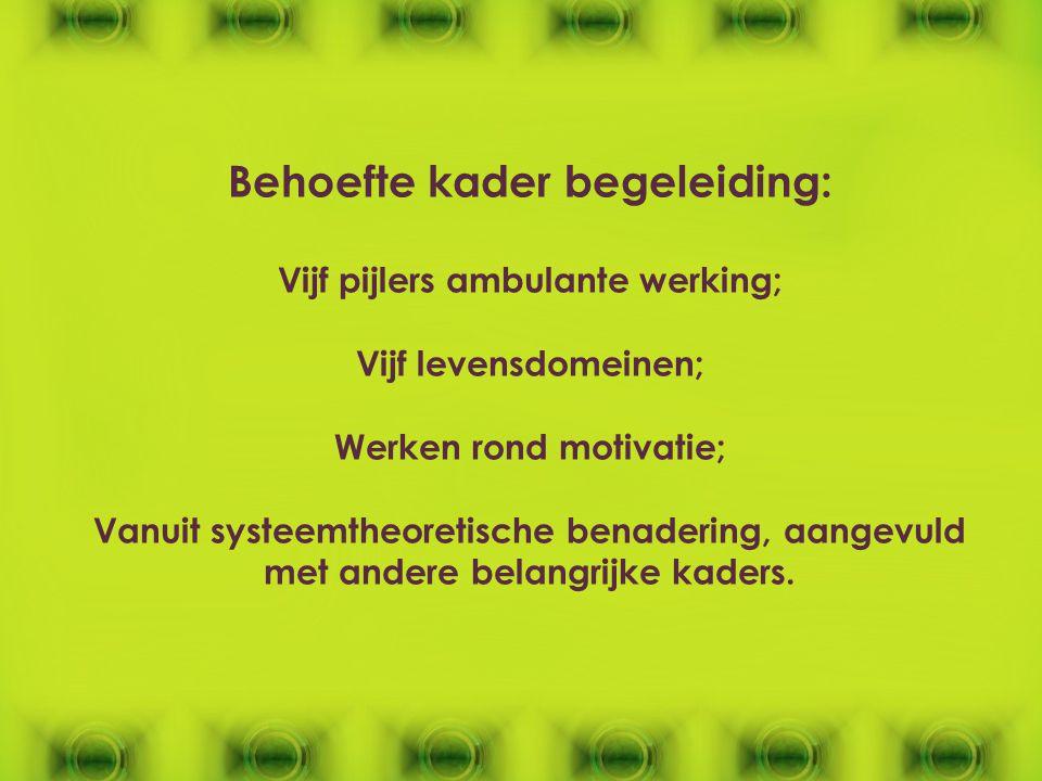 Behoefte kader begeleiding: Vijf pijlers ambulante werking; Vijf levensdomeinen; Werken rond motivatie; Vanuit systeemtheoretische benadering, aangevu
