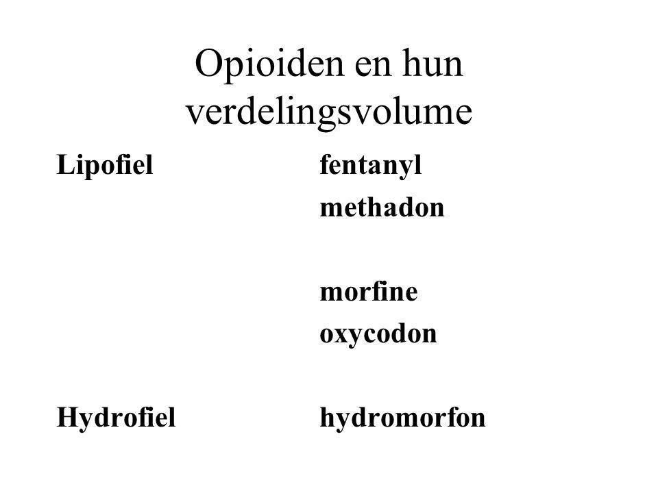 Opioiden en hun verdelingsvolume Lipofielfentanyl methadon morfine oxycodon Hydrofielhydromorfon
