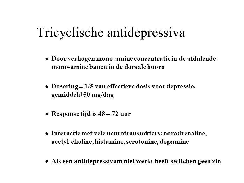 Tricyclische antidepressiva  Door verhogen mono-amine concentratie in de afdalende mono-amine banen in de dorsale hoorn  Dosering ± 1/5 van effectie