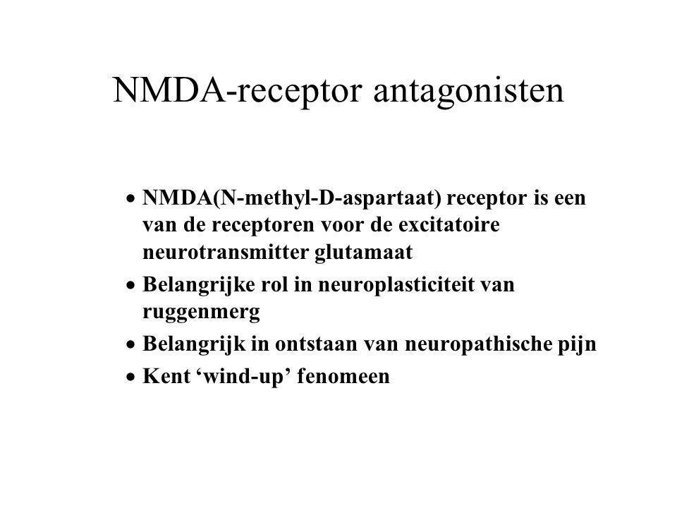 NMDA-receptor antagonisten  NMDA(N-methyl-D-aspartaat) receptor is een van de receptoren voor de excitatoire neurotransmitter glutamaat  Belangrijke