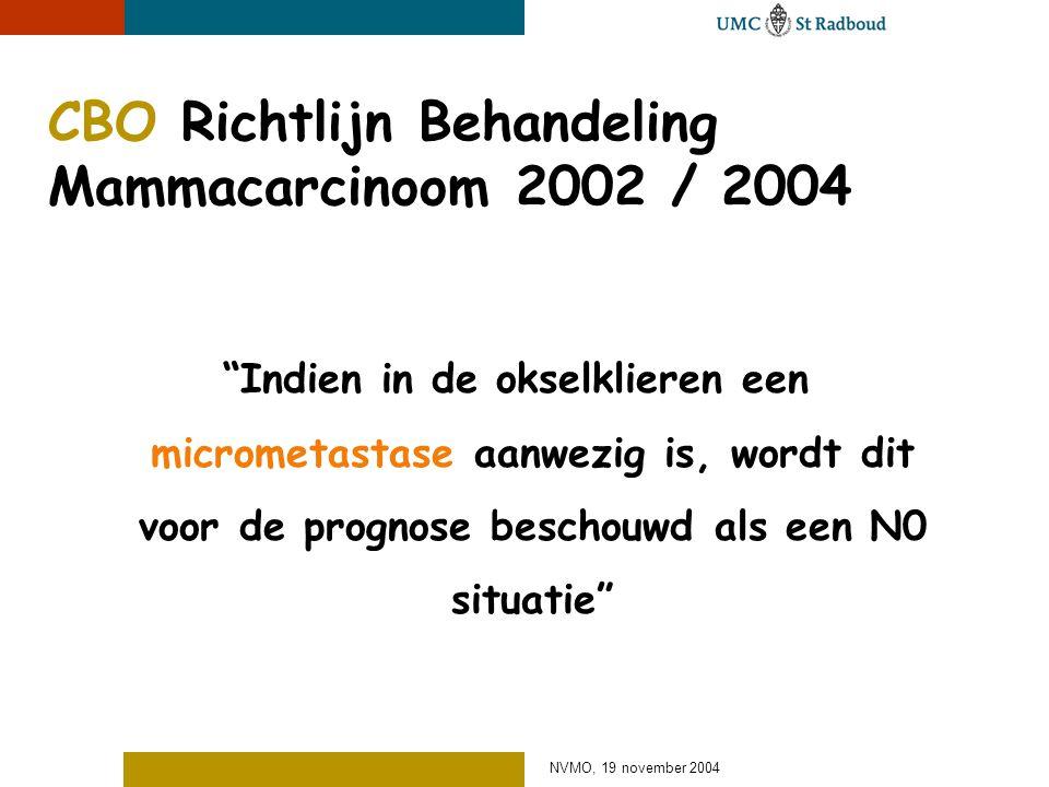 NVMO, 19 november 2004 CBO Richtlijn Behandeling Mammacarcinoom 2002 / 2004 Indien in de okselklieren een micrometastase aanwezig is, wordt dit voor de prognose beschouwd als een N0 situatie