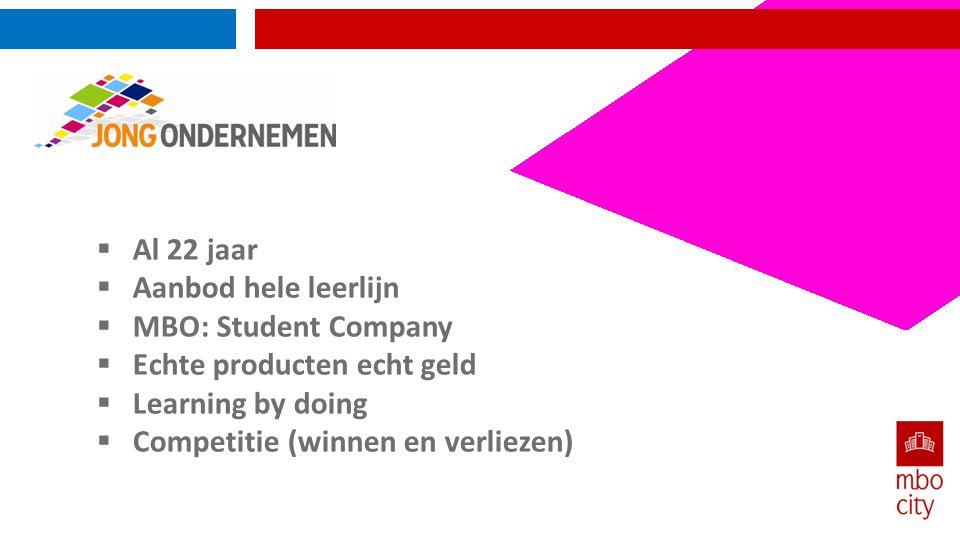  Al 22 jaar  Aanbod hele leerlijn  MBO: Student Company  Echte producten echt geld  Learning by doing  Competitie (winnen en verliezen)