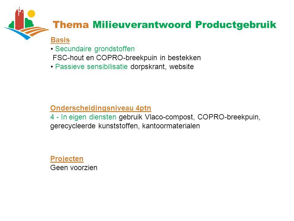 Thema Milieuverantwoord Productgebruik Basis Secundaire grondstoffen FSC-hout en COPRO-breekpuin in bestekken Passieve sensibilisatie dorpskrant, webs