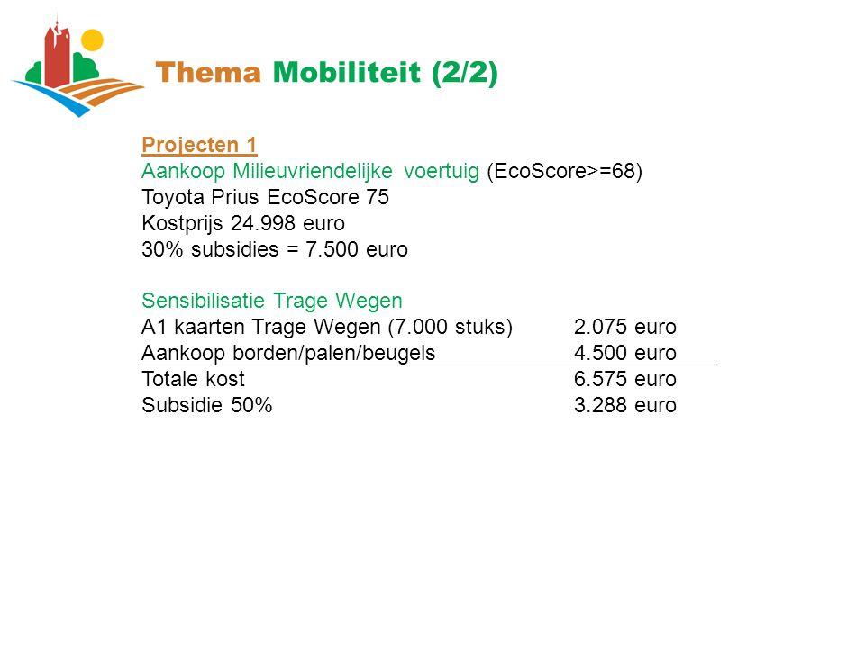Thema Mobiliteit (2/2) Projecten 1 Aankoop Milieuvriendelijke voertuig (EcoScore>=68) Toyota Prius EcoScore 75 Kostprijs 24.998 euro 30% subsidies = 7