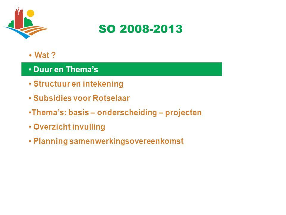Duur en Thema's Duur van de overeenkomst Geldig voor 6 jaar (2008-2013) Jaarlijkse ondertekening Inhoudelijk 10 thema's : een thematische onderverdeling 1.