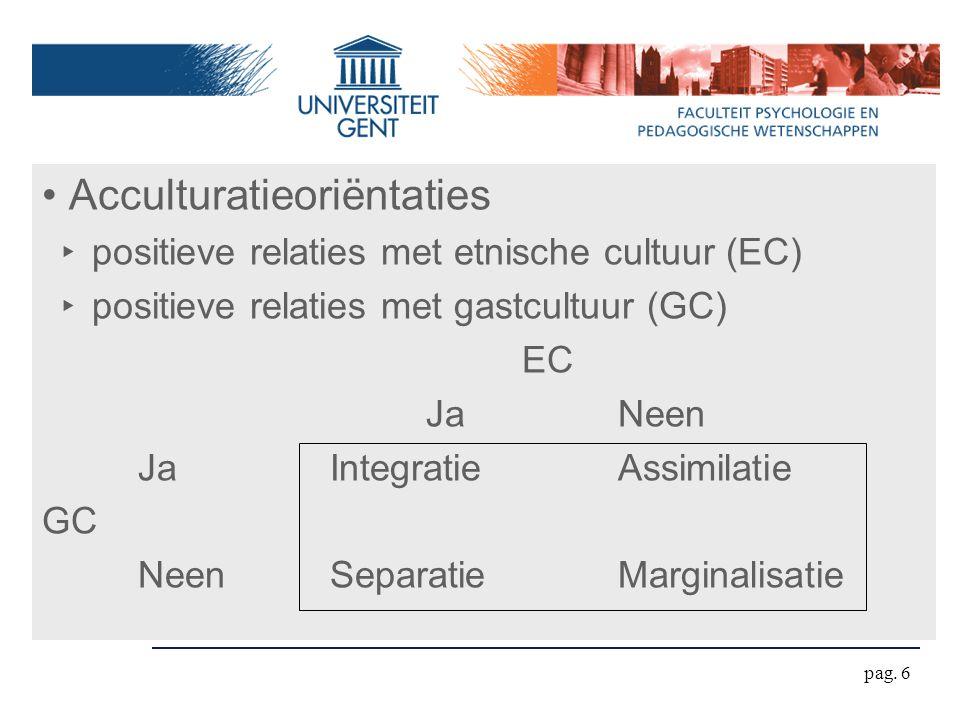 pag. 6 Acculturatieoriëntaties ‣ positieve relaties met etnische cultuur (EC) ‣ positieve relaties met gastcultuur (GC) EC JaNeen JaIntegratieAssimila