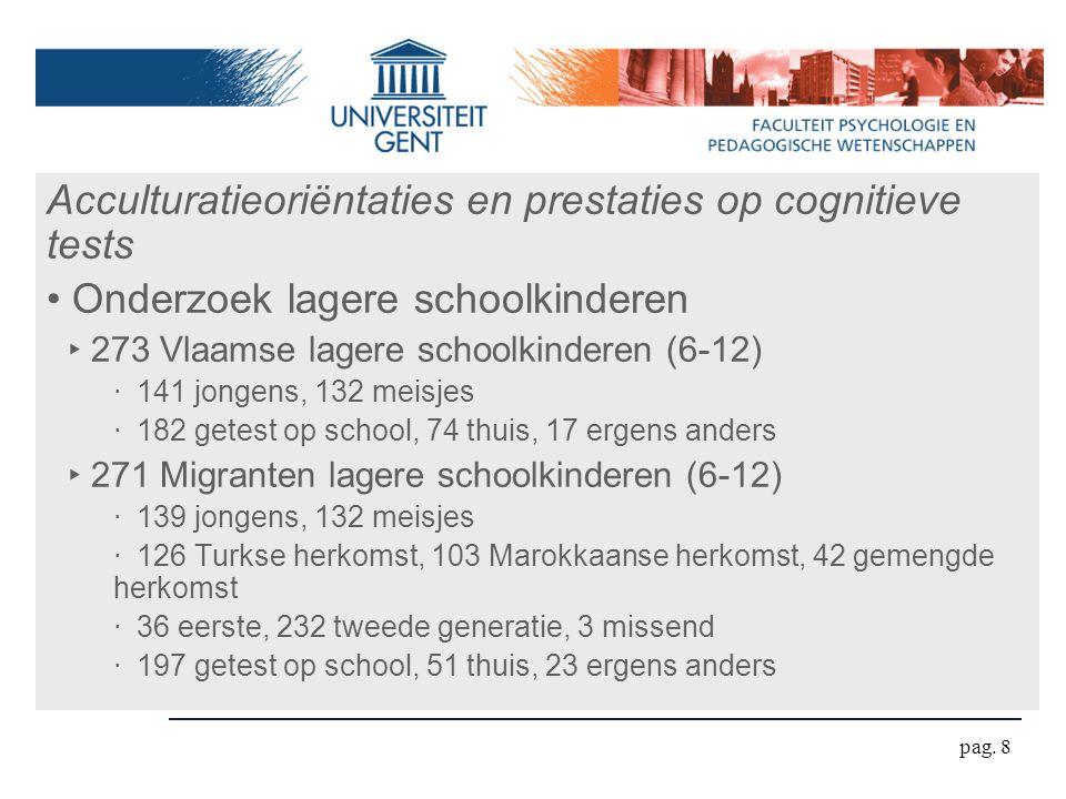 pag. 8 Acculturatieoriëntaties en prestaties op cognitieve tests Onderzoek lagere schoolkinderen ‣ 273 Vlaamse lagere schoolkinderen (6-12) ‧ 141 jong