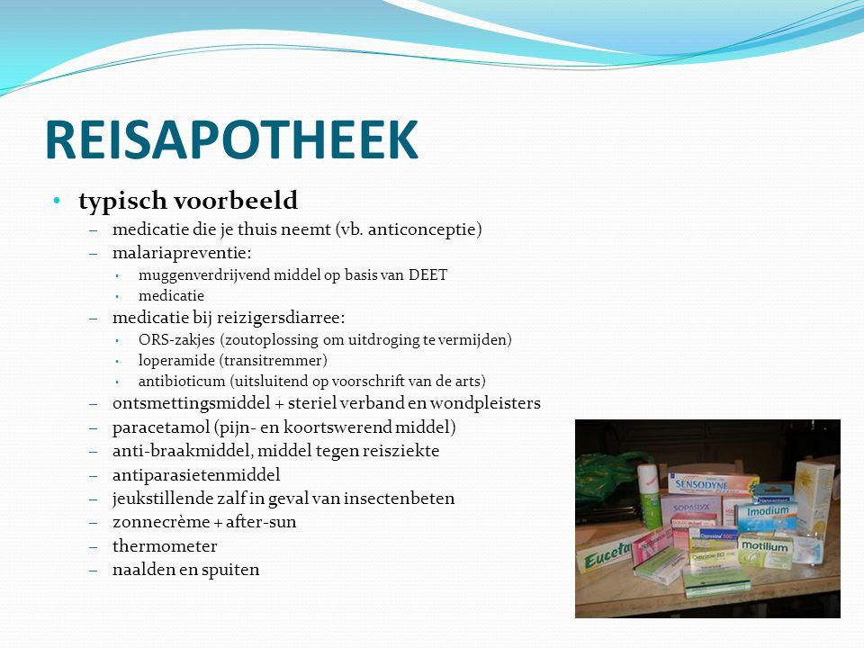 REISAPOTHEEK typisch voorbeeld – medicatie die je thuis neemt (vb. anticonceptie) – malariapreventie: muggenverdrijvend middel op basis van DEET medic