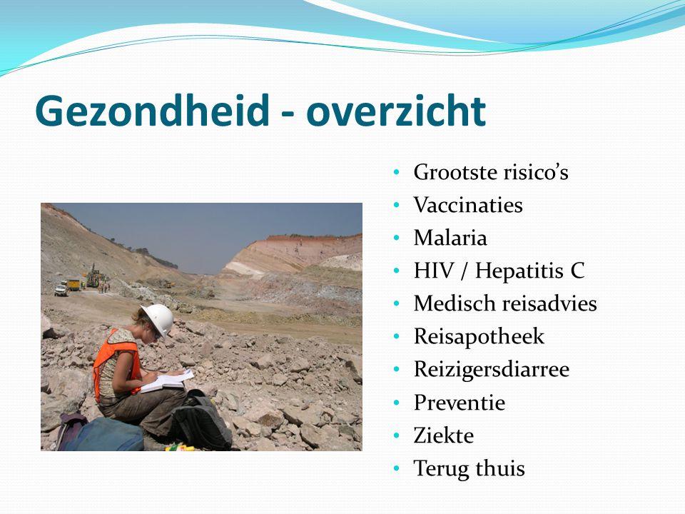 Gezondheid - overzicht Grootste risico's Vaccinaties Malaria HIV / Hepatitis C Medisch reisadvies Reisapotheek Reizigersdiarree Preventie Ziekte Terug