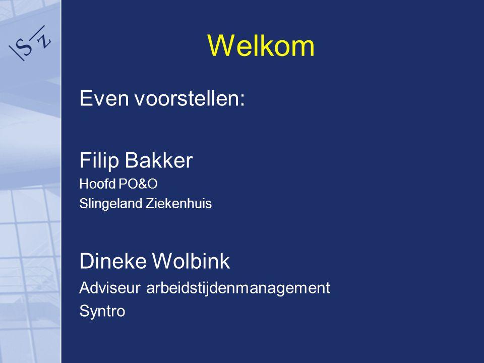 Welkom Even voorstellen: Filip Bakker Hoofd PO&O Slingeland Ziekenhuis Dineke Wolbink Adviseur arbeidstijdenmanagement Syntro