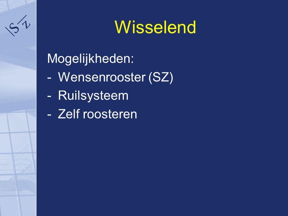 Wisselend Mogelijkheden: -Wensenrooster (SZ) -Ruilsysteem -Zelf roosteren