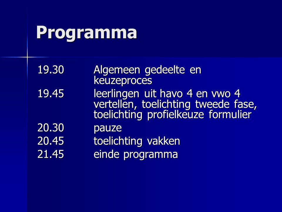 Programma 19.30 Algemeen gedeelte en keuzeproces 19.45leerlingen uit havo 4 en vwo 4 vertellen, toelichting tweede fase, toelichting profielkeuze form
