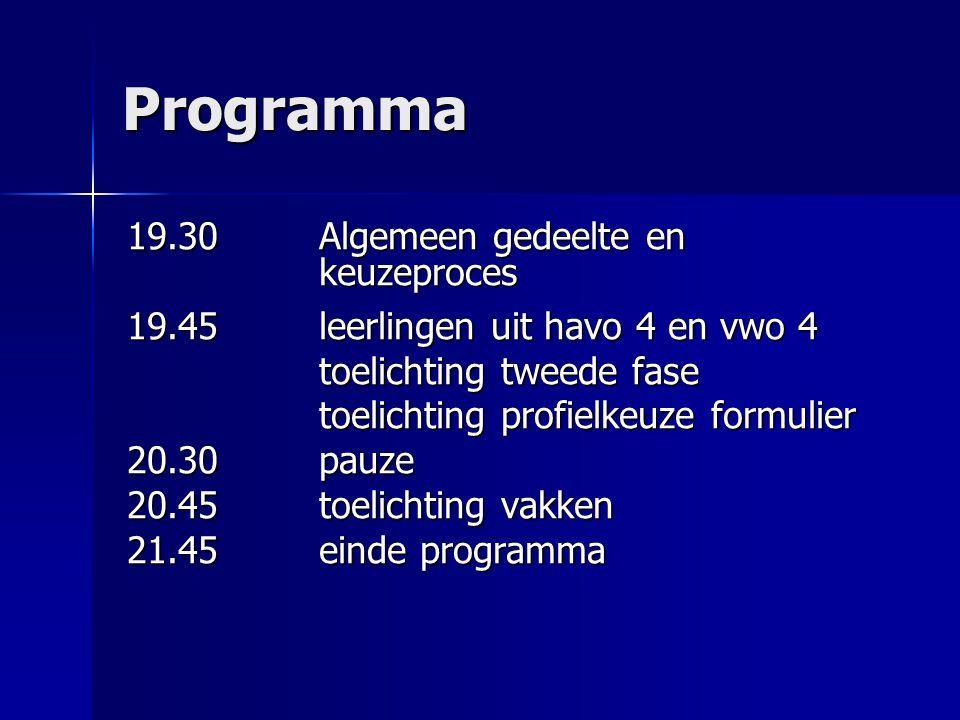 Programma 19.30 Algemeen gedeelte en keuzeproces 19.45leerlingen uit havo 4 en vwo 4 toelichting tweede fase toelichting profielkeuze formulier 20.30p