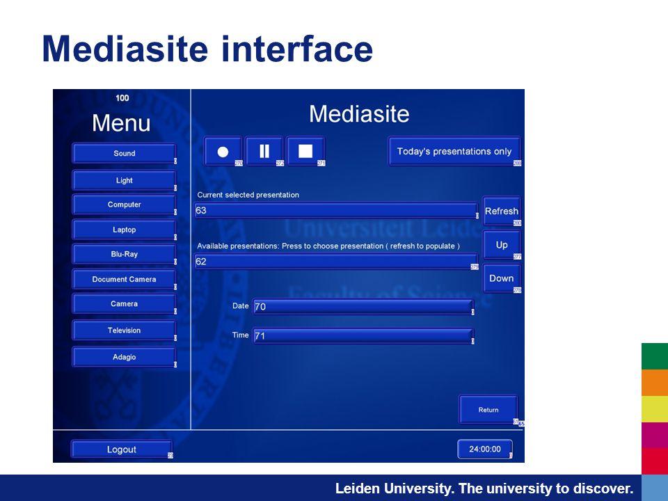 Leiden University. The university to discover. Mediasite interface